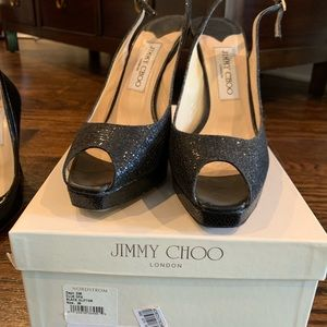 Black Glitter jimmy Choo shoes